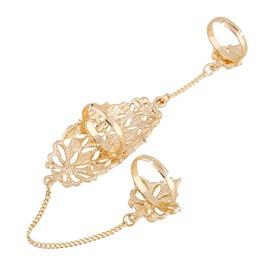 Golden Flowers Shape Hollow Design Diamante Ring