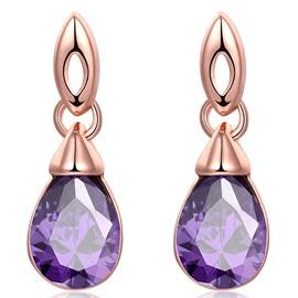 Purple Aritical Stone Inlaid Water Drop Shaped Earrings