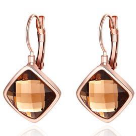 Fantastic Gold Plated Rhombus Design Pendant Earrings