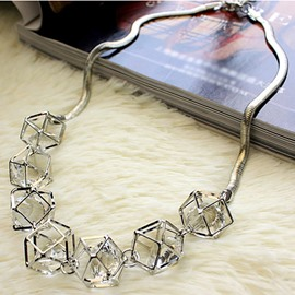 Stylish Hollow Geometry Inlaid Design Statement Necklace