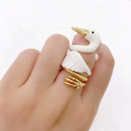 Creative Cartoon Swan Design 3 Pieces Enamel Rings Group
