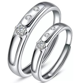 Three Diamonds Design 925 Sterling Silver Couple Ring