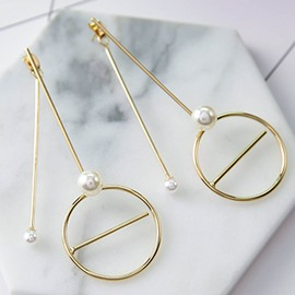 Pretty Circle with Pearl Design Alloy Pendant Earring