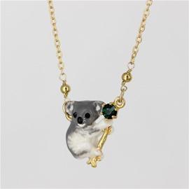 Lovely Koala Design Enamel Glaze Pendant Necklace
