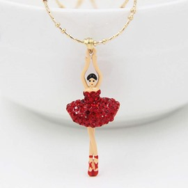 Shining Ballet Dancer Design Alloy Pendant Necklace