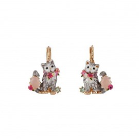 Charming Cat Design Enamel Glaze Pendant Earrings