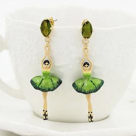 Pretty Ballet Dancer Design Pendant Earrings