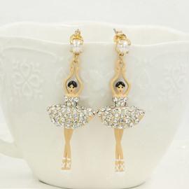Fabulous Ballet Dancer with Shining Dress Design Pendant Earrings