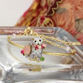 Vivid Cat Design Women Alloy Bangle Bracelet