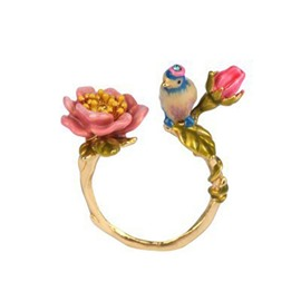 Fantastic Bird with Floral Design Opening Ring
