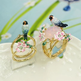 Vivid Bird and Flower Design Enamel Glaze Ring