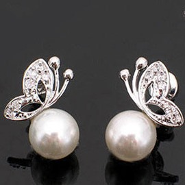 Pretty Butterfly and Pearl Design Alloy Earrings