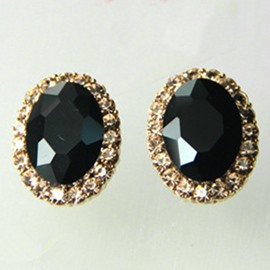 Charming Black Light Ellipse Design Women Earrings