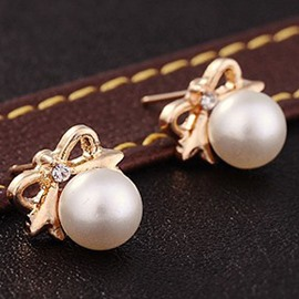 Cute Bowknot Pearl Design Earrings