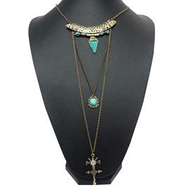 Fancy Three Layers Cross Design Pendant Necklace