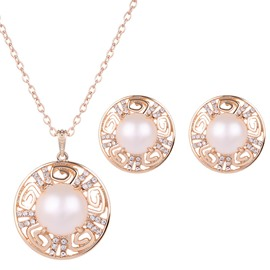 Fabulous Pearl Inlaid Circle Design Alloy Jewelry Sets