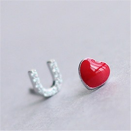 Women's Creative Gift Love U Shaped Sterling Silver Errings