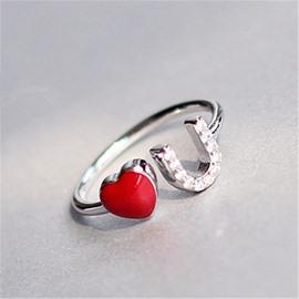 Women's Love U Shaped S925 Sterling Silver Ring