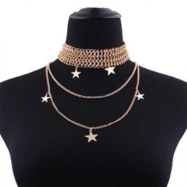 Stars Golden Latest Design Choker U Shaped Necklace