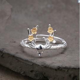 Silver Color Adjustable Open Elk Antler Finger Ring