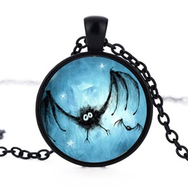 Alloy Bat Blue Pattern Sexy Fashion Halloween Necklace