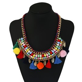 Bohemian Colorful Pom Pom Necklace for Women and Girls