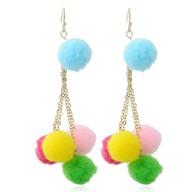 4 Colors Fashion Handmade Exaggerated Long Drop Pum Pum Earring