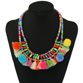 Unique Multicolor Plush Colorful Balls Women Jewelry