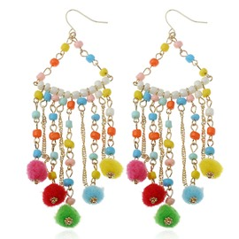 Women Pom Poms Fashion Big Charm Jewelry Earrings