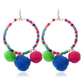 Women Colorful Pom Ball Bead Tassel Drop Dangle Earrings