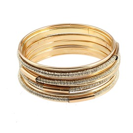 Simple Gold Fashion Stretch Bead Multilayer Bracelets for Women