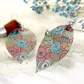 E-Planting Technic Alloy Female Leaf Pattern Drop Earrings