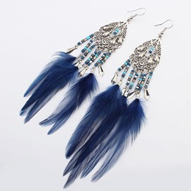 Female Feather Geometric Anniversary Birthday Drop Earrings