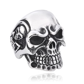 Male Skull Polishing Technic Titanium Steel Punk Style Ring