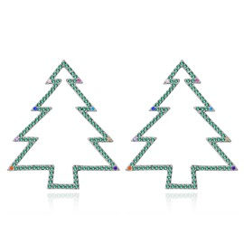 Exquisite Simple Green Christmas Tree Frame Earrings