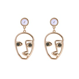 Creative Pop Face Diamond Eye Pearl Earrings