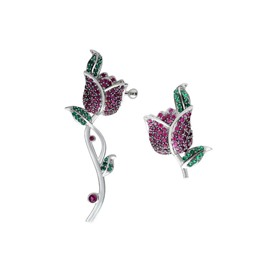 Zircon Rose Left and Right Ear Different Earrings