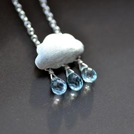 Rain Cloud Necklace Water Drop Pendant Necklace Romantic Female Necklaces 925 sterling silver