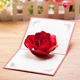Creative 3D Red Rose Greeting Cards