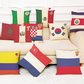 World Cup Theme Polyester Ramie Material Modern Style Pillowcase