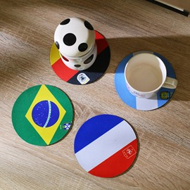 World Cup Theme Natural Rubber Material National Flag Pattern Cup Mat