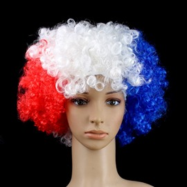 World Cup Theme Sewing Technics PET Material Big Hair Style Wig