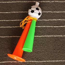 World Cup Theme Plastic Material Big Size Multi-color Three Tubes Trumpet