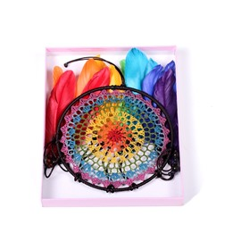Hand Knitting Colorful Feather Dreamcatcher Home Decoration Birthday Gift
