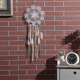 Hand Knitting Light Pink Princess Style Dreamcatcher Home Decoration
