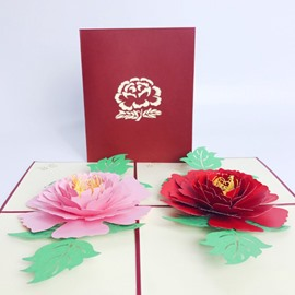 Classic Red and Pink Peony Greeting Card