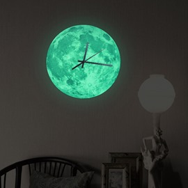 Luminous Moon Wall Clock Moon Fluorescent Clock