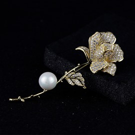 Classic Pearl Rose Accessories Simple Temperament Brooch