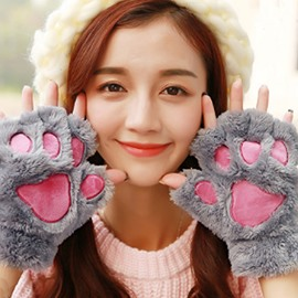 Girl Winter Bear Paw Shape Four Color Lovers Gloves Warm Gift