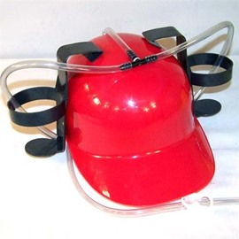 Beer and Soda Coke Cool Helmet Drinking Cap with Straws